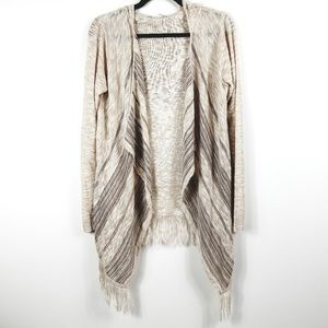 Maurice's Hooded Fringe Waterfall Open Cardigan
